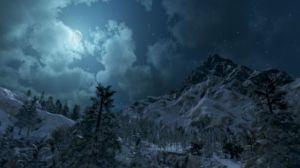 Verschneites Gebirge