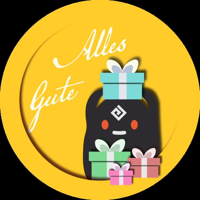 """Badge mit Schwarzgeist """"Alles Gute"""""""